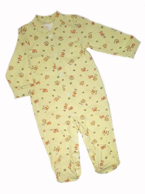 Комбинезон-слип для новорожденных Карусель, 105/1 желтый, котики/собачки