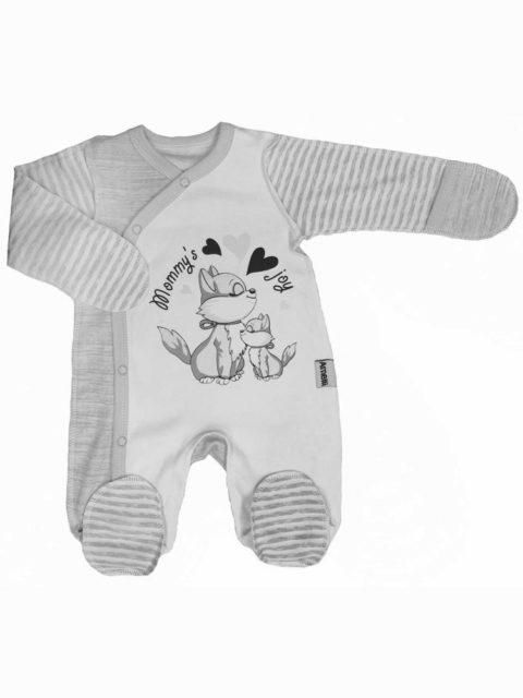 Комбинезон-слип для новорожденных Amelli Котятки серый