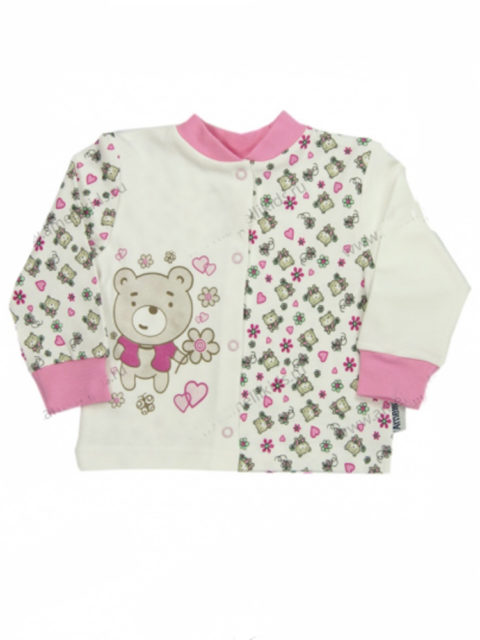 Кофточка для новорожденных Amelli KЛ.050.001 Мишка с цветами, молочный/розовый