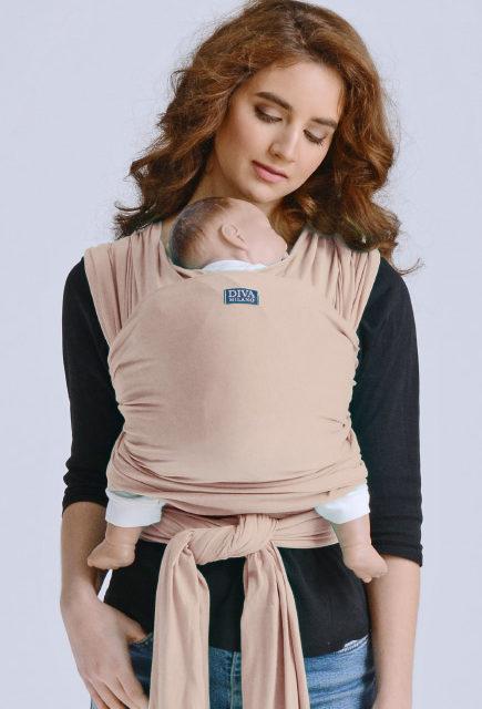 Слинг-шарф трикотажный для новорожденных Diva Stretchy Beige