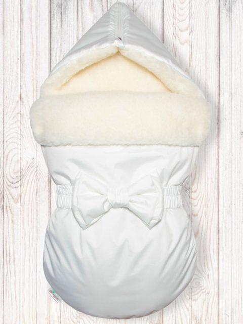 "Зимний конверт для новорожденных на выписку на овчине ""White"""