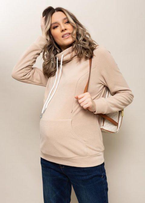 Толстовка флисовая для беременных и кормящих Алексис, бежевый. Магазин одежды для беременных Мамаплюс