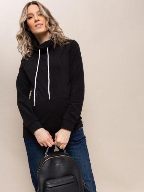 Толстовка флисовая для беременных и кормящих Алексис, черный. Магазин одежды для беременных Мамаплюс