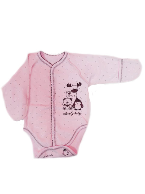 Боди для новорожденных КЛ.14685 Северные друзья, розовый. Одежда для новорожденных