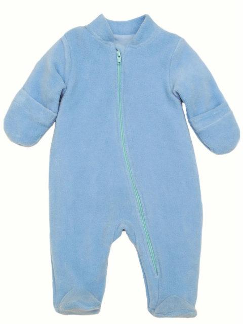 Комбинезон для новорожденных поддева флисовый на хб. подкладке 404/20 голубой. Одежда для новорожденных