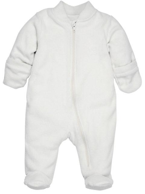 Комбинезон для новорожденных поддева флисовый на хб. подкладке 404/20 молочный. Одежда для новорожденных