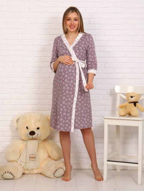 Комплект в роддом халат и сорочка 8.113 коричневый для беременных и кормящих