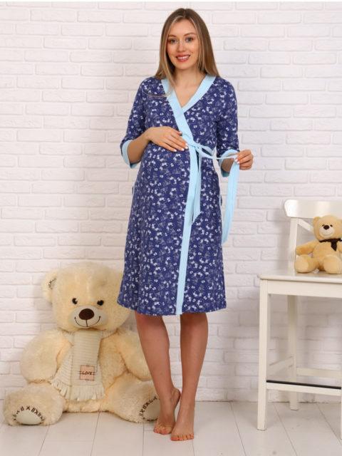 Комплект в роддом халат и сорочка 8.75 синий/голубой для беременных и кормящих