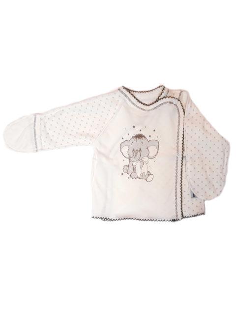 Распашонка для новорожденных Amelli КЛ.110.005.0.027.012 Слоник с бантом, звездочки/бежевый. Одежда для новорожденных
