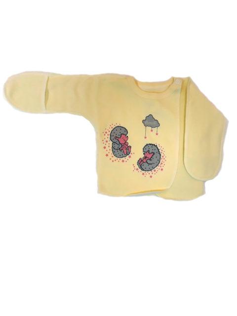 Распашонка для новорожденных Amelli КЛ.110.008.0.134.055/056 Ёжики, желтый/розовый. Одежда для новорожденных