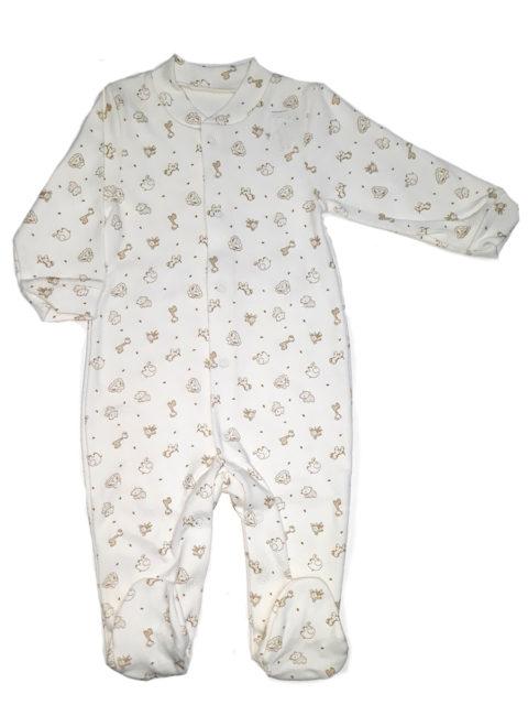 Слип для новорожденных Карусель, 105/1 молочный слоны/жирафы. Одежда для новорожденных