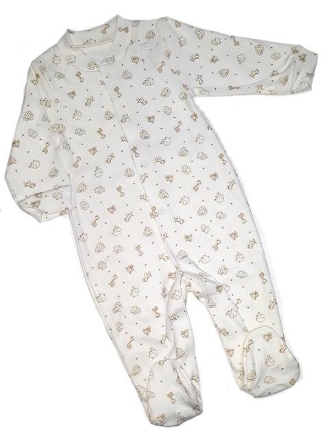 Слип для новорожденных Карусель, 105/2 зверюшки, молочный. Одежда для новорожденных