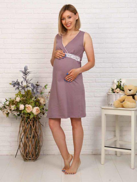 Комплект в роддом халат и сорочка Стрекозы для беременных и кормящих