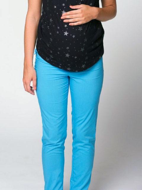 Летние брюки для беременных прямые Симона, лазурный (хлопок 95%)