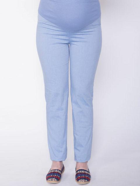 Летние брюки для беременных зауженные Симона, св.голубой (хлопок 95%)