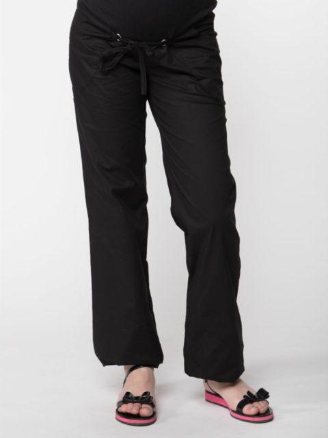 Летние брюки для беременных прямые Клэр, черный (хлопок 95%)