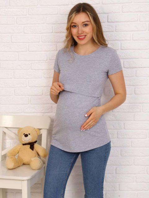 Футболка для беременных и кормящих Джени, серый меланж