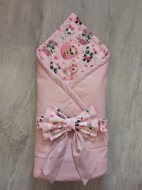 Конверт-одеяло на выписку, для новорожденных Пудровый (двусторонний) лето (от +10 до +25)