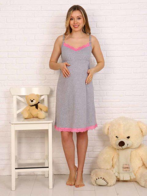 Сорочка для беременных и кормящих Элена, серый с розовым кружевом