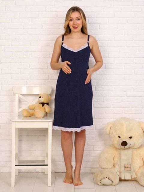 Сорочка для беременных и кормящих Элена, синий с кружевом
