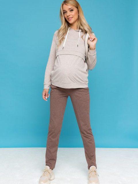 Спортивный костюм для беременных и кормящих Луиза, бежевый меланж (лето)