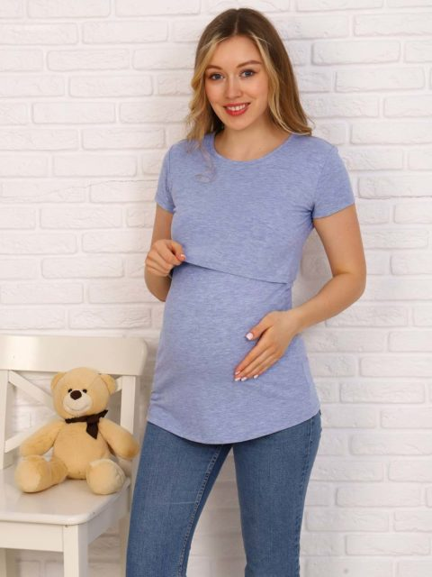 Футболка для беременных и кормящих Джени, голубой меланж