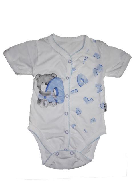 Боди для новорожденных Алфавит, молочный/голубой