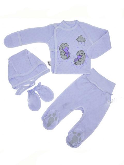 Комплект одежды для новорожденных 4 предмета Ежики, голубой