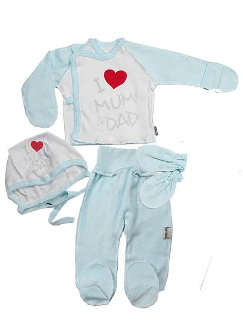 Комплект одежды для новорожденных 4 предмета I love, молочный/голубой