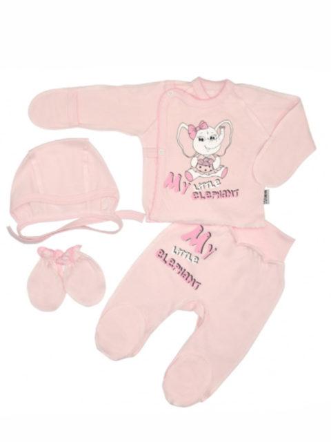 Комплект одежды для новорожденных 4 предмета Слоник, розовый