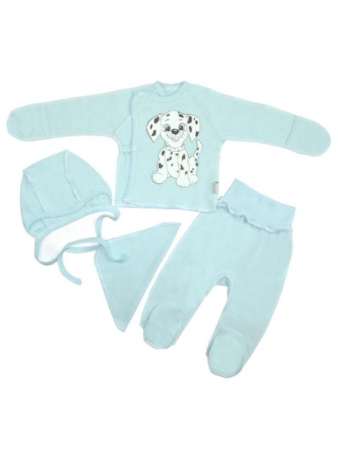 Комплект одежды для новорожденных 4 предмета Далматинец, голубой