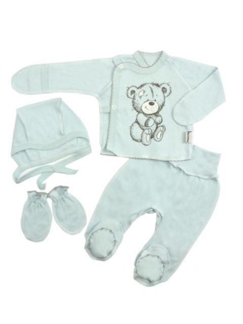 Комплект одежды для новорожденных 4 предмета Тедди, голубой