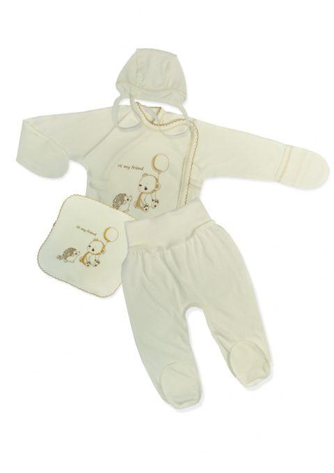 Комплект одежды для новорожденных 4 предмета Hi my frend, молочный