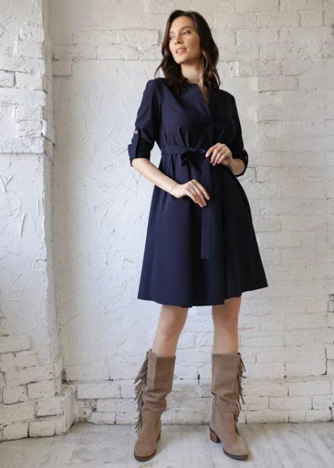 Платье для беременных и кормящих Марика, темно-синий
