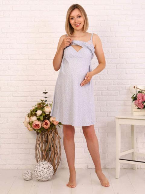 Комплект в роддом халат и сорочка Бабочки/серый меланж для беременных и кормящих