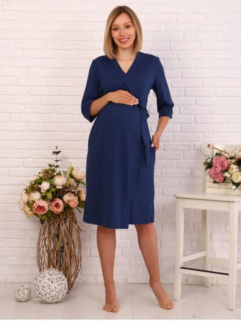 Комплект в роддом халат и сорочка Индиго/бантики для беременных и кормящих
