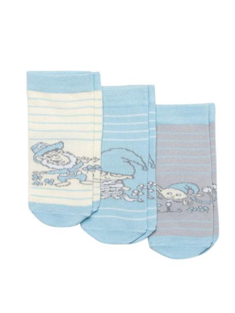 Носки для новорожденных 3 пары, Гномы, голубой/серый