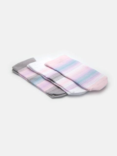 Носки для новорожденных 3 пары, Радуга, розовый