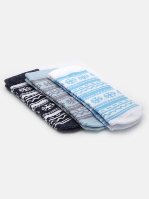 Носки для новорожденных 3 пары, Скандинавия, голубой/серый
