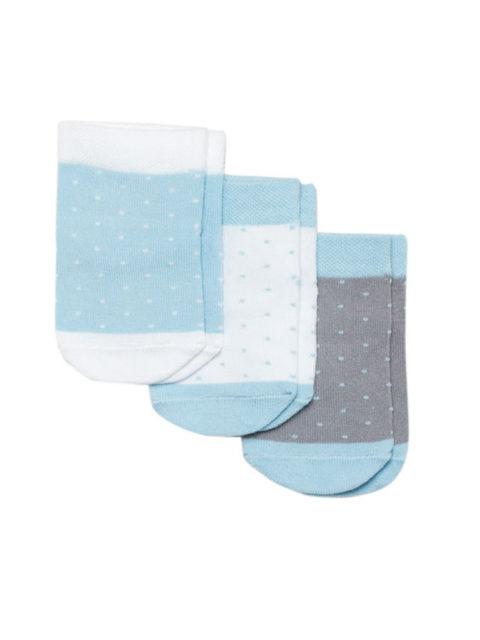 Носки для новорожденных 3 пары, Точки, голубой/серый