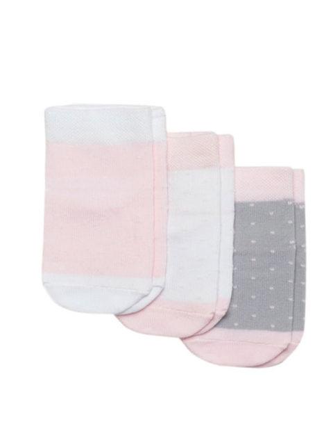 Носки для новорожденных 3 пары, Точки, розовый