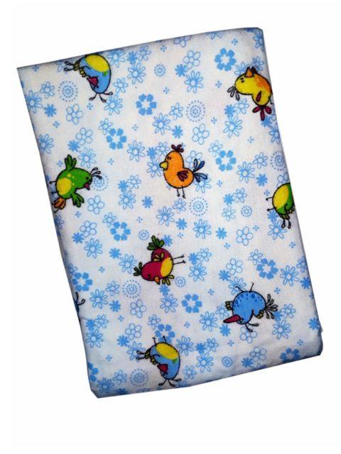 Пеленка фланелевая 120х90 см., Птички/цветы, голубой (мягкая фланель)