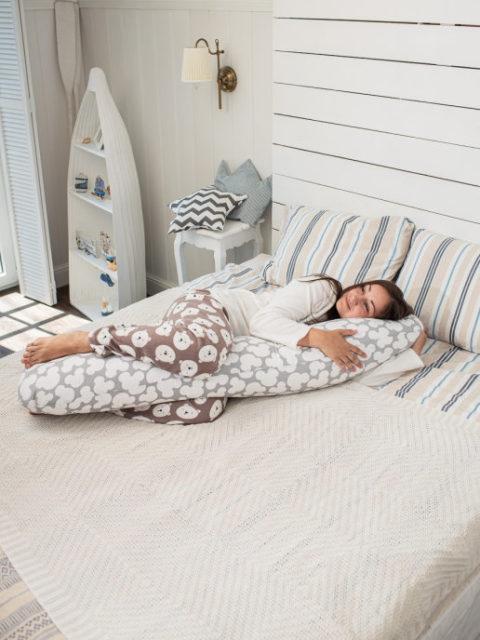 Подушка для беременных форма I-max 145 см. + наволочка Микки серая
