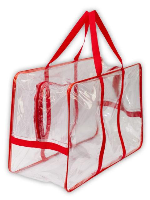 Сумка в роддом прозрачная большая, пустая 55х33х24 см., красный
